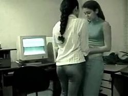 Desi cute lesbian lovers have romance in office