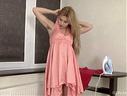 Beautiful hairy Lizza finishes work and strips naked for us